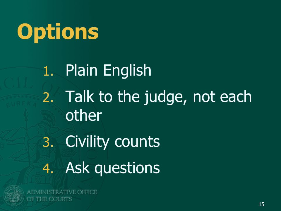 Options 1. Plain English 2. Talk to the judge, not each other 3.
