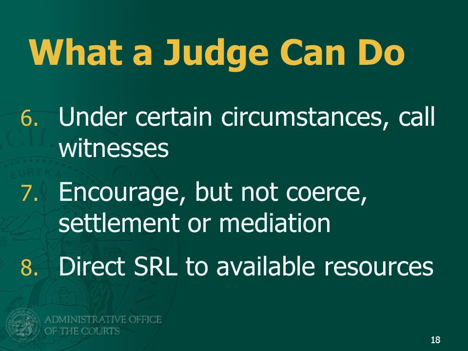 What a Judge Can Do 6. Under certain circumstances, call witnesses 7.