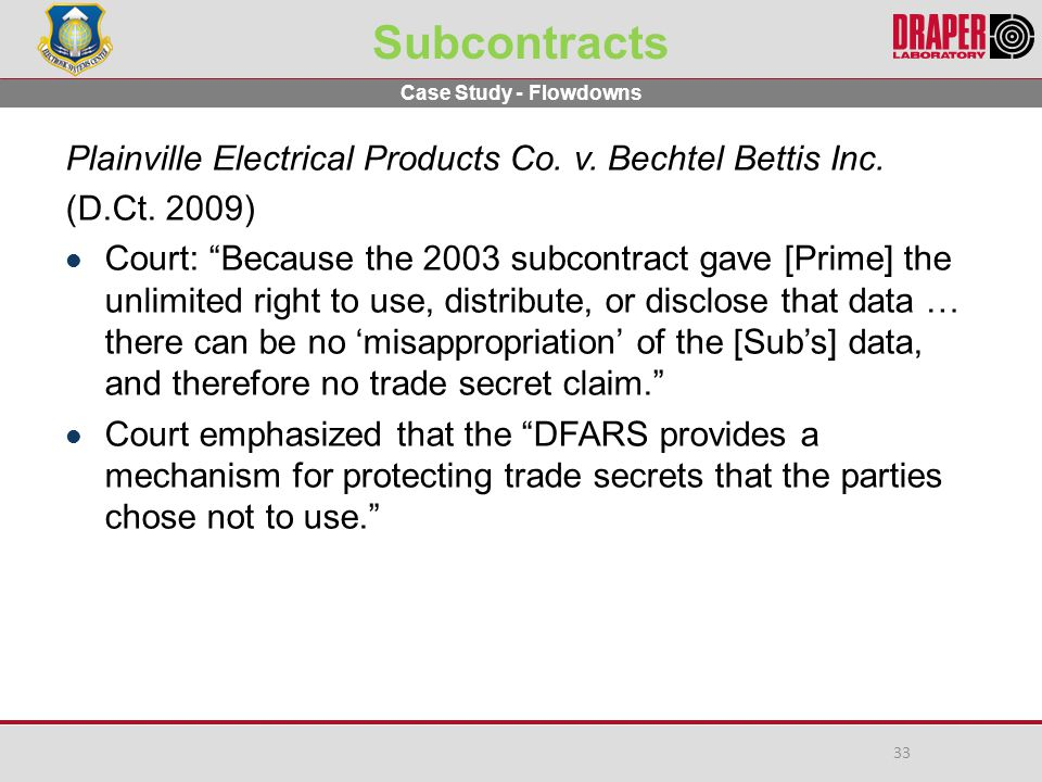 Subcontracts Plainville Electrical Products Co.v.