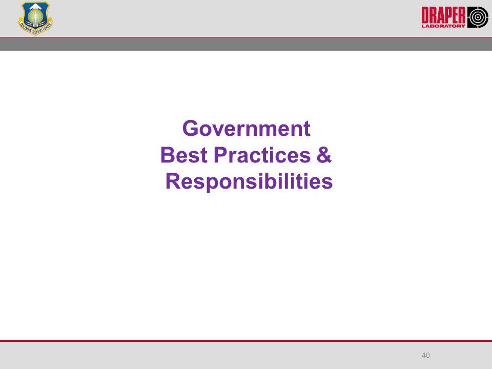 Government Best Practices & Responsibilities 40