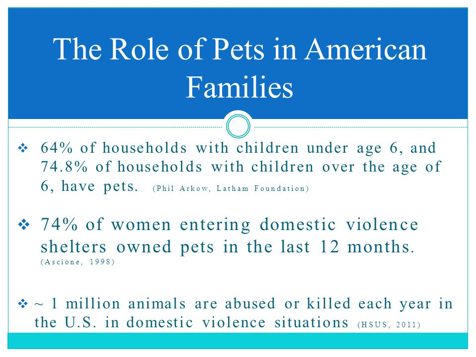  64% of households with children under age 6, and 74.8% of households with children over the age of 6, have pets. (Phil Arkow, Latham Foundation)  7