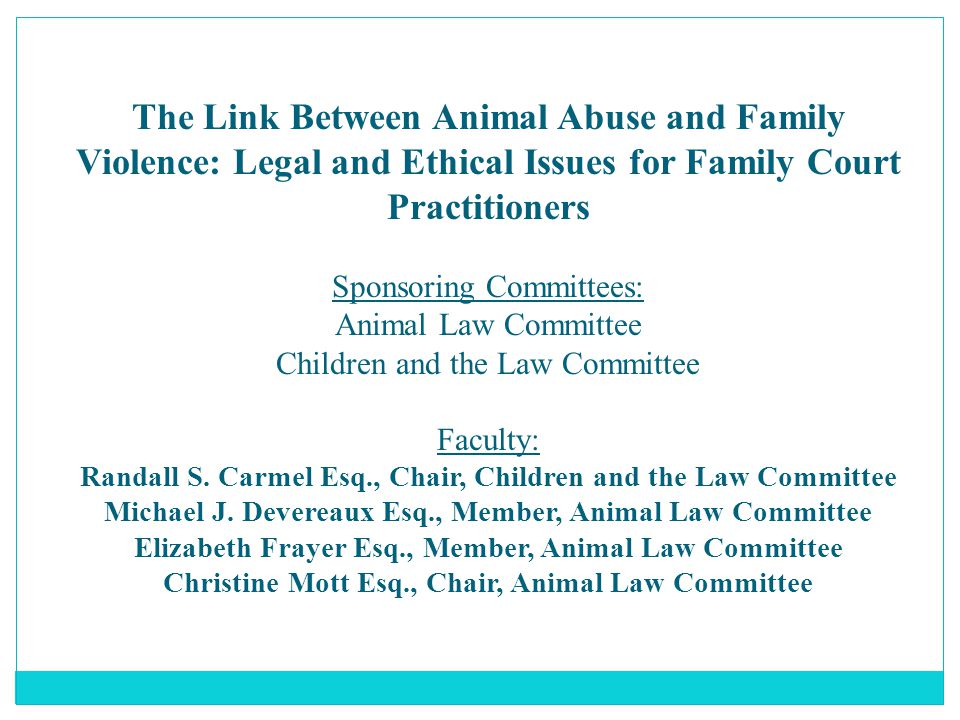 The Link Between Animal Abuse and Family Violence: Legal and Ethical Issues for Family Court Practitioners Sponsoring Committees: Animal Law Committee Children and the Law Committee Faculty: Randall S.
