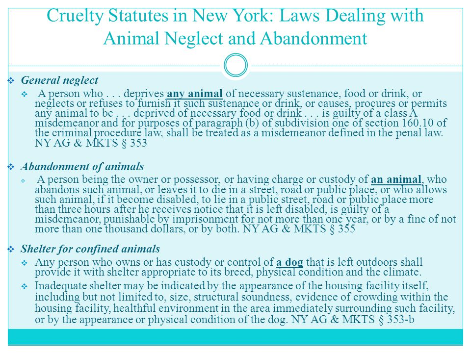 Cruelty Statutes in New York: Laws Dealing with Animal Neglect and Abandonment  General neglect  A person who... deprives any animal of necessary su