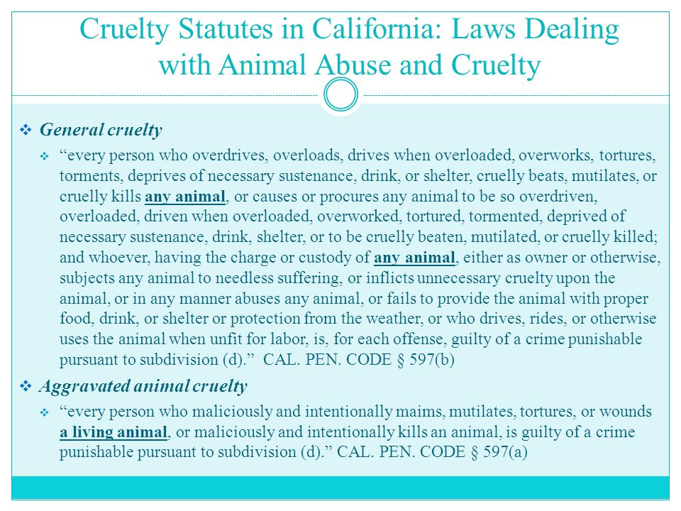 """Cruelty Statutes in California: Laws Dealing with Animal Abuse and Cruelty  General cruelty  """"every person who overdrives, overloads, drives when ov"""