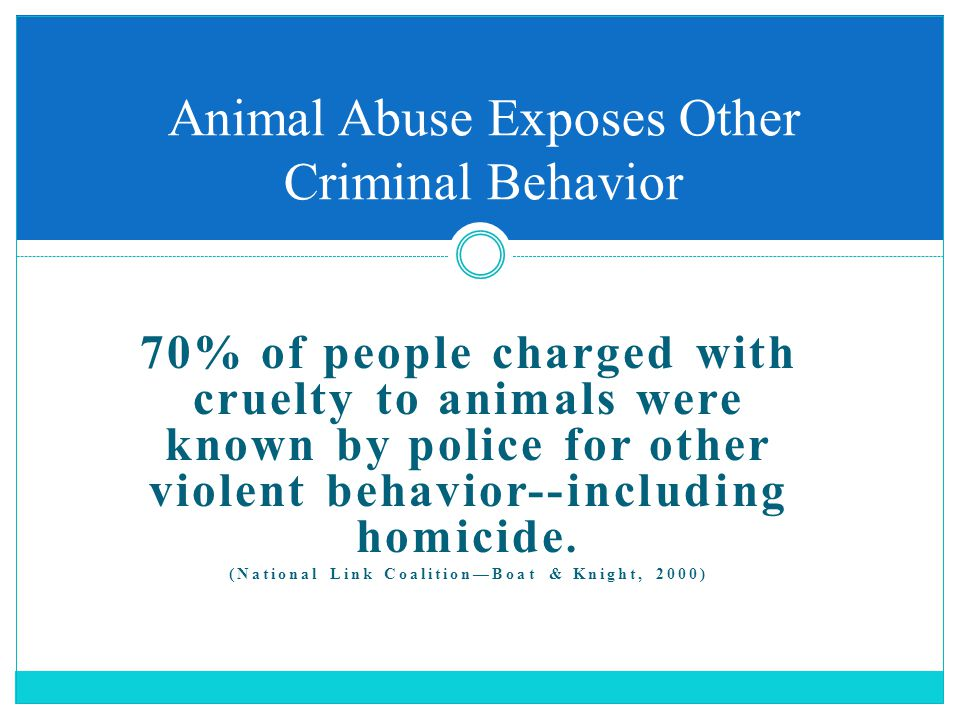 70% of people charged with cruelty to animals were known by police for other violent behavior--including homicide. (National Link Coalition—Boat & Kni