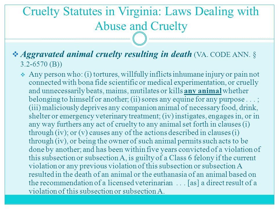 Cruelty Statutes in Virginia: Laws Dealing with Abuse and Cruelty  Aggravated animal cruelty resulting in death (VA.