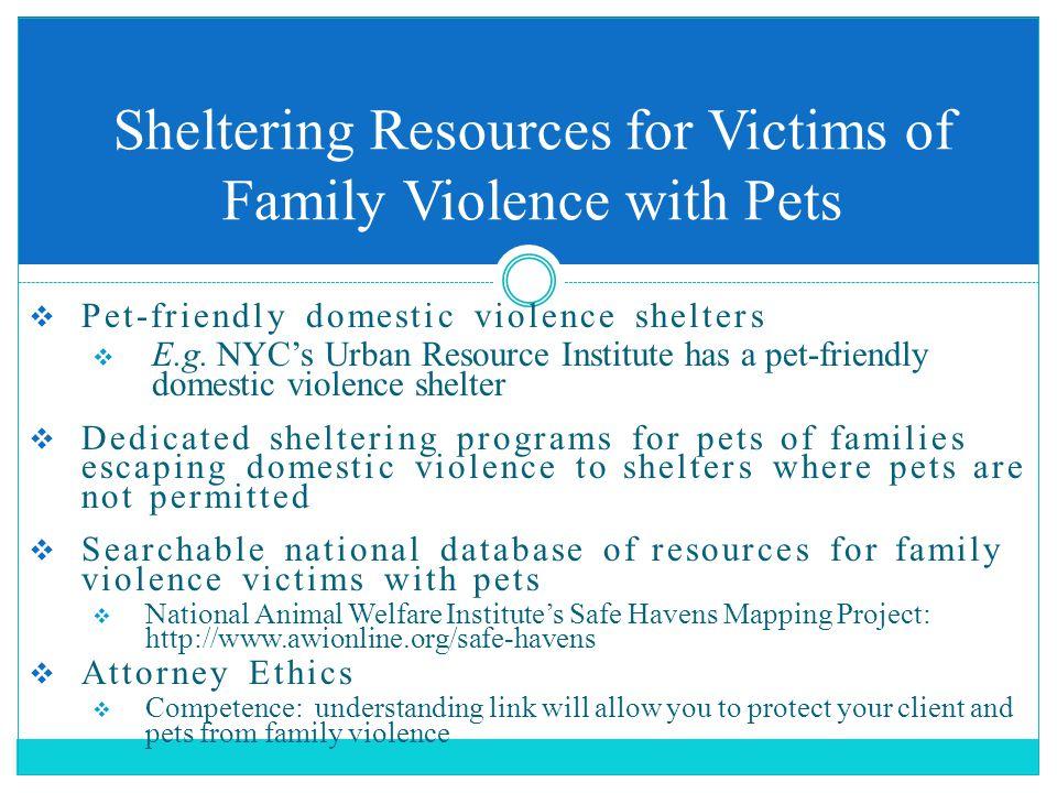  Pet-friendly domestic violence shelters  E.g.