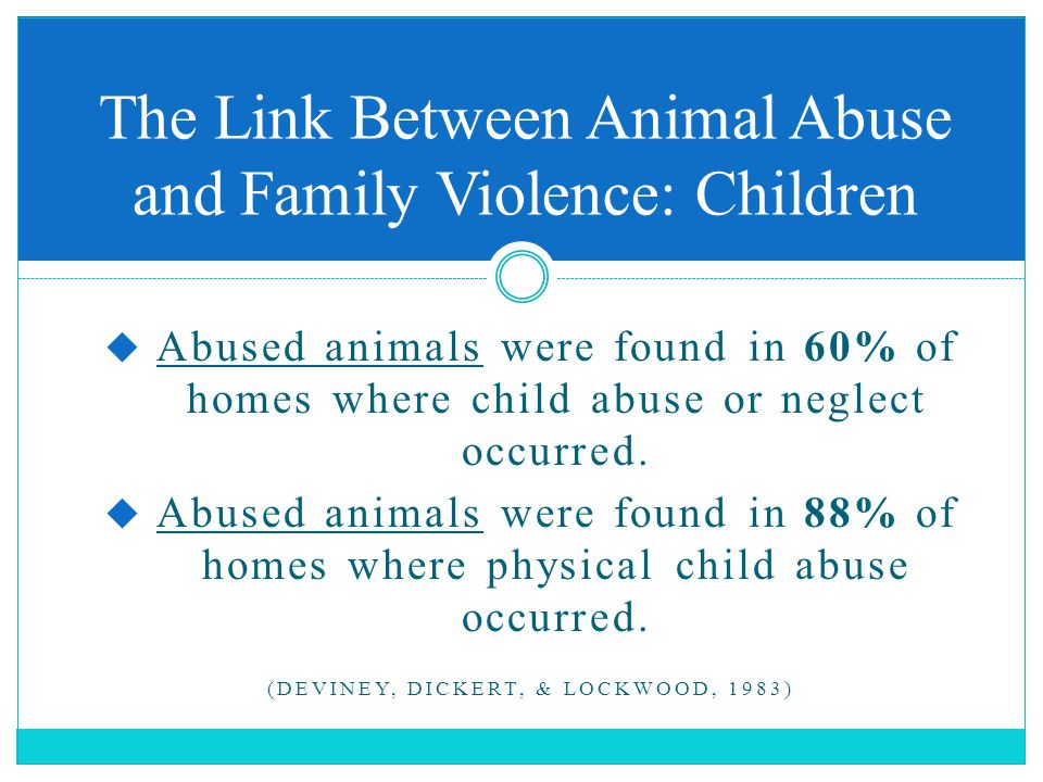  Abused animals were found in 60% of homes where child abuse or neglect occurred.  Abused animals were found in 88% of homes where physical child ab
