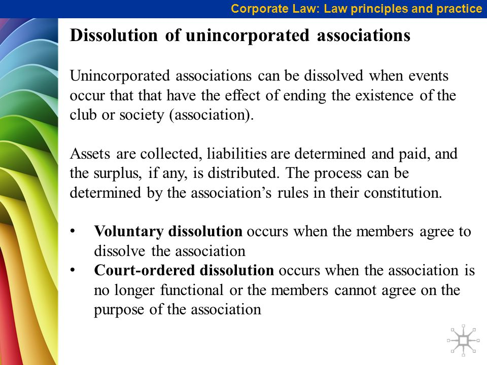 Corporate Law: Law principles and practice Dissolution of unincorporated associations Unincorporated associations can be dissolved when events occur that that have the effect of ending the existence of the club or society (association).
