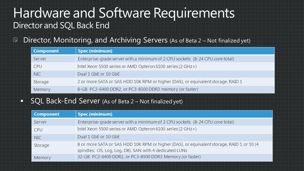 ComponentSpec (minimum) Server Enterprise-grade server with a minimum of 2 CPU sockets (8-24 CPU core total) CPU Intel Xeon 5500 series or AMD Opteron