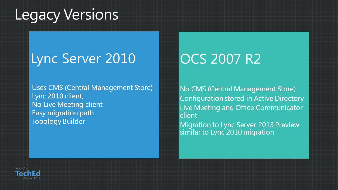 Lync Server 2010 Uses CMS (Central Management Store) Lync 2010 client, No Live Meeting client Easy migration path Topology Builder OCS 2007 R2 No CMS