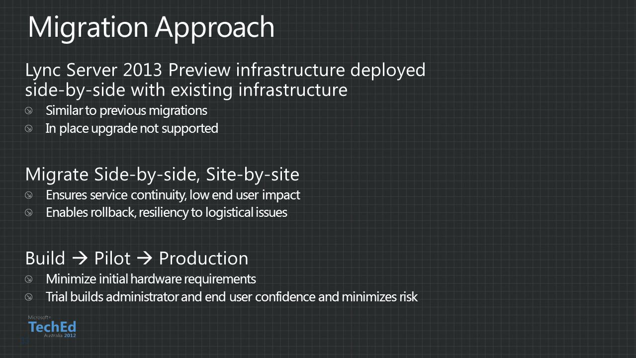 Lync Server 2013 Preview infrastructure deployed side-by-side with existing infrastructure Similar to previous migrations In place upgrade not support
