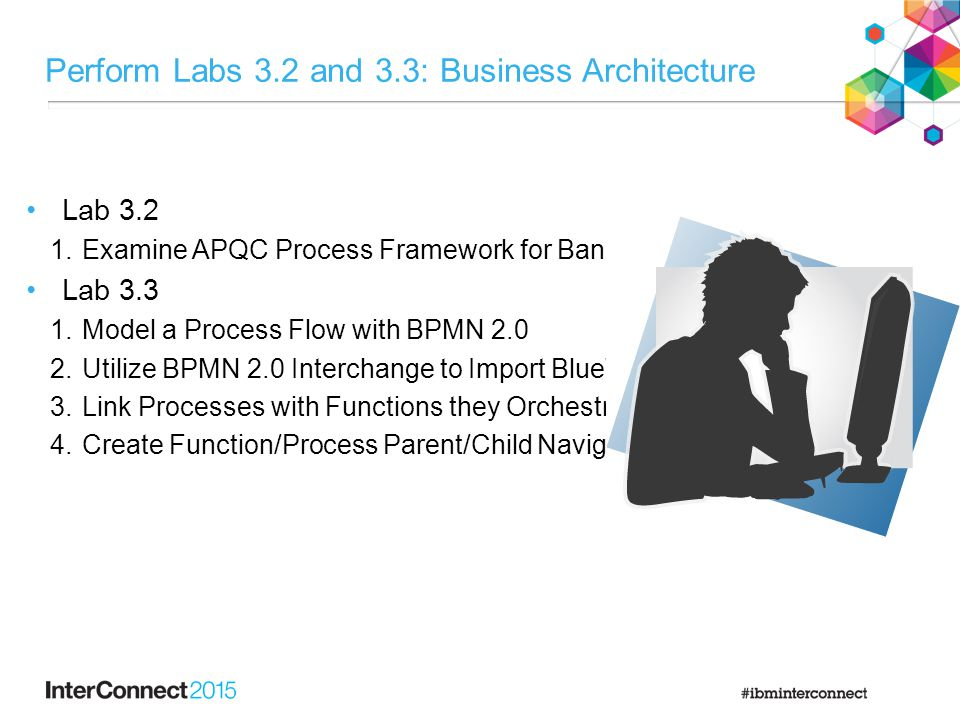 Perform Labs 3.2 and 3.3: Business Architecture Lab 3.2 1.Examine APQC Process Framework for Banking Lab 3.3 1.Model a Process Flow with BPMN 2.0 2.Utilize BPMN 2.0 Interchange to Import BlueWorks Flow 3.Link Processes with Functions they Orchestrate 4.Create Function/Process Parent/Child Navigation Links