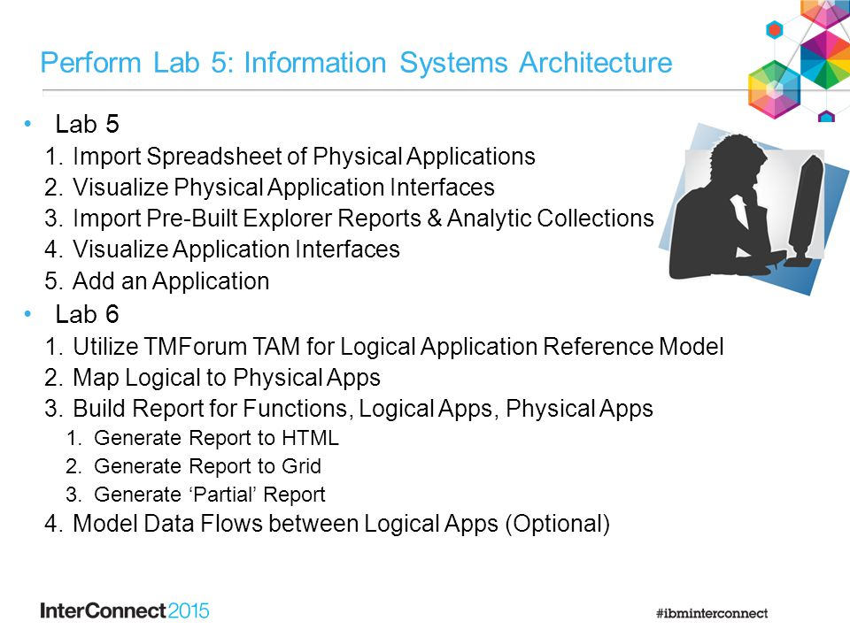 Perform Lab 5: Information Systems Architecture Lab 5 1.Import Spreadsheet of Physical Applications 2.Visualize Physical Application Interfaces 3.Import Pre-Built Explorer Reports & Analytic Collections 4.Visualize Application Interfaces 5.Add an Application Lab 6 1.Utilize TMForum TAM for Logical Application Reference Model 2.Map Logical to Physical Apps 3.Build Report for Functions, Logical Apps, Physical Apps 1.Generate Report to HTML 2.Generate Report to Grid 3.Generate 'Partial' Report 4.Model Data Flows between Logical Apps (Optional)