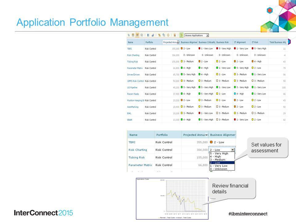 Application Portfolio Management Set values for assessment Review financial details