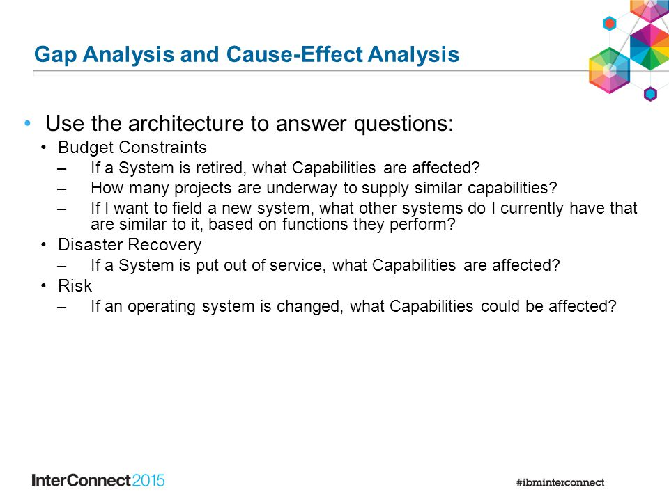 Use the architecture to answer questions: Budget Constraints –If a System is retired, what Capabilities are affected? –How many projects are underway