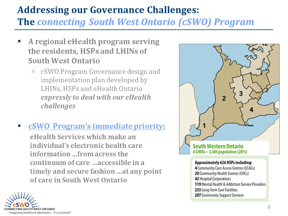 6  A regional eHealth program serving the residents, HSPs and LHINs of South West Ontario  cSWO Program Governance design and implementation plan developed by LHINs, HSPs and eHealth Ontario expressly to deal with our eHealth challenges  cSWO Program's immediate priority: eHealth Services which make an individual's electronic health care information …from across the continuum of care …accessible in a timely and secure fashion …at any point of care in South West Ontario Addressing our Governance Challenges: The connecting South West Ontario (cSWO) Program