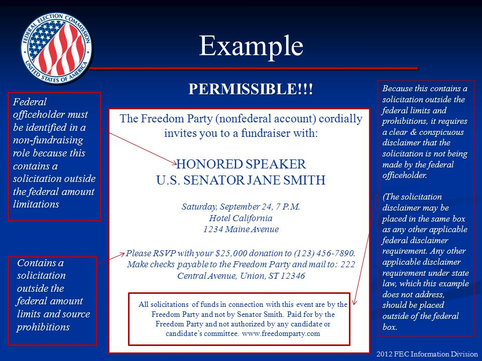 2012 FEC Information Division Example PERMISSIBLE!!.