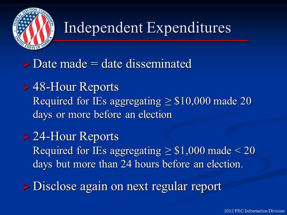 2012 FEC Information Division Reporting Independent Expenditures Scenario