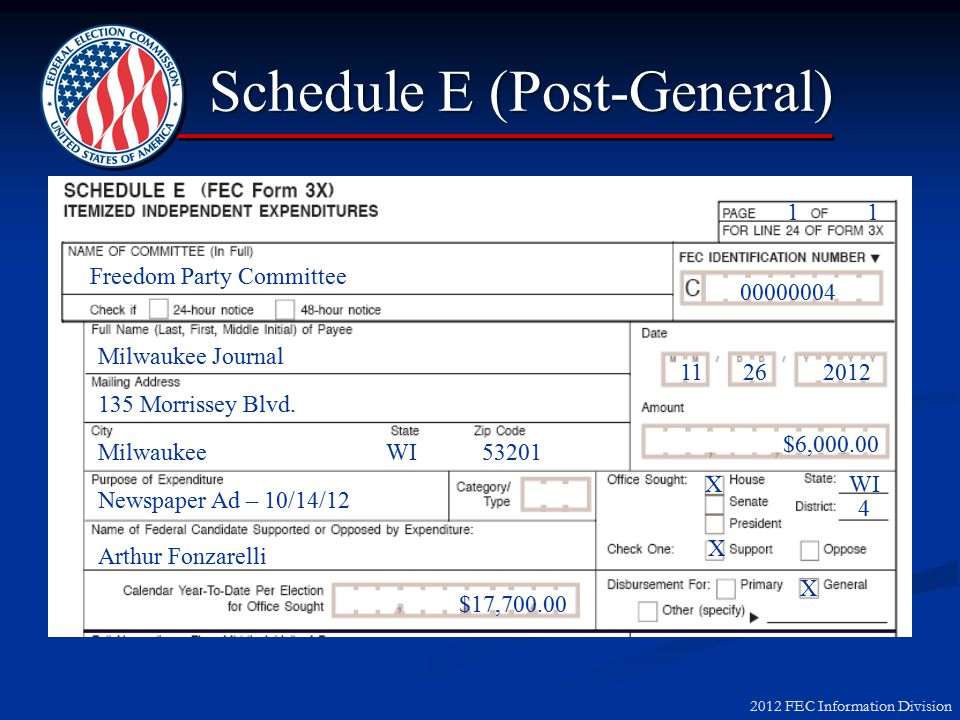 2012 FEC Information Division IE – Report Debt Owed 135 Morrissey Blvd.