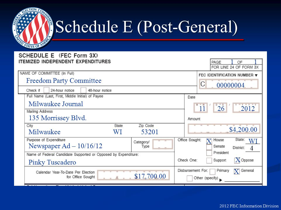 2012 FEC Information Division Schedule E (Post-General) Schedule E (Post-General) 135 Morrissey Blvd.