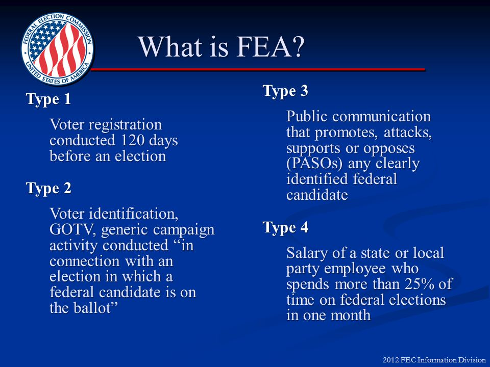 2012 FEC Information Division Supporting Candidates ► Contributions ► Exempt Activities ► Coordinated Party Expenditures ► Independent Expenditures ► Federal Election Activities (FEA)