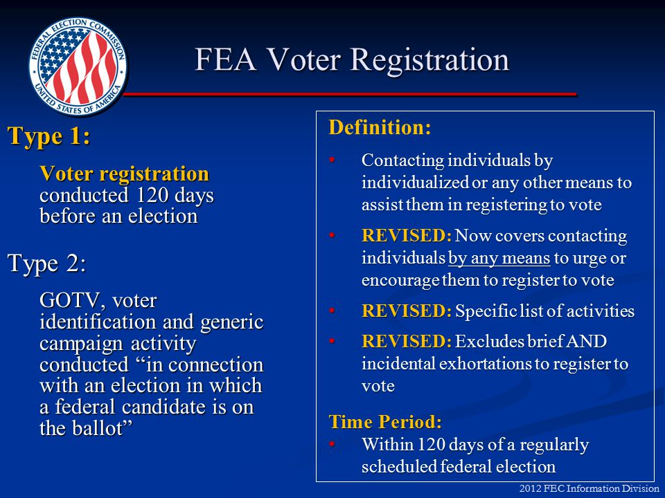 2012 FEC Information Division What is FEA.
