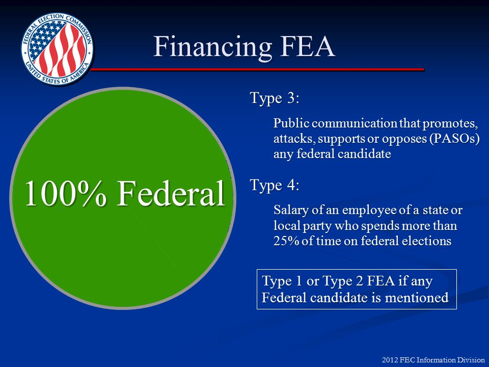 2012 FEC Information Division Financing FEA Type 1: Voter registration conducted 120 days before an election Federal/Levin Allocation Type 2: GOTV, voter identification and generic campaign activity conducted in connection with an election in which a federal candidate is on the ballot