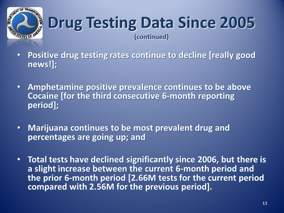 Drug Testing Data Since 2005 (continued) 13 Positive drug testing rates continue to decline [really good news!]; Positive drug testing rates continue