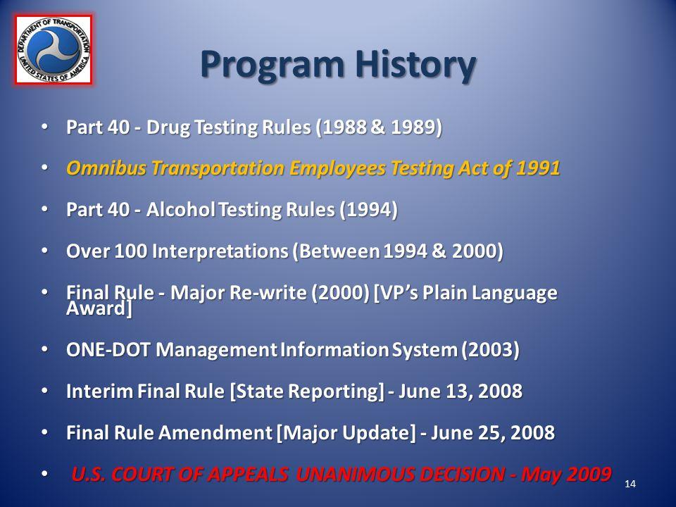 Program History Part 40 - Drug Testing Rules (1988 & 1989) Part 40 - Drug Testing Rules (1988 & 1989) Omnibus Transportation Employees Testing Act of