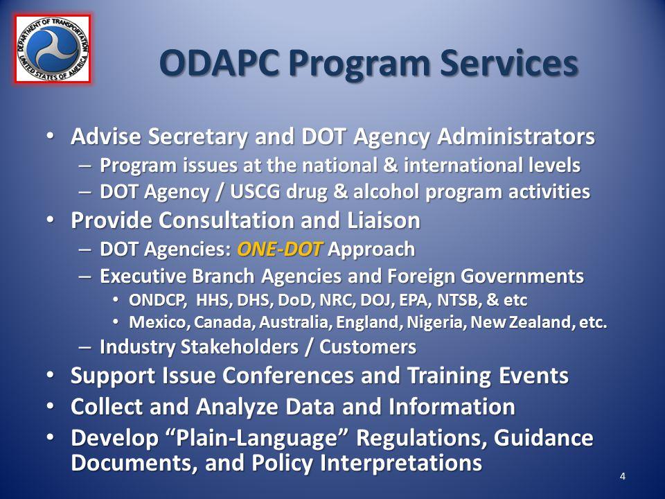 ODAPC Program Services Advise Secretary and DOT Agency Administrators Advise Secretary and DOT Agency Administrators – Program issues at the national