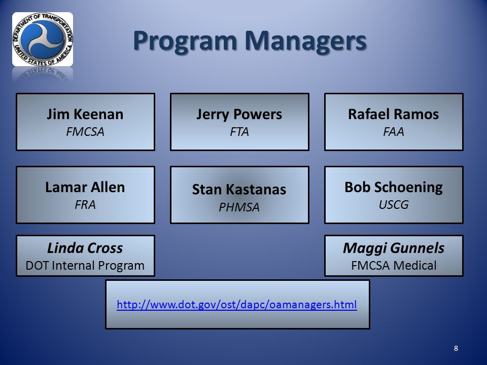 8 Jim Keenan FMCSA Rafael Ramos FAA Lamar Allen FRA Bob Schoening USCG Linda Cross DOT Internal Program http://www.dot.gov/ost/dapc/oamanagers.html Pr