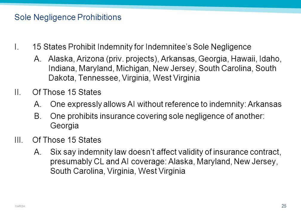 MARSH Sole Negligence Prohibitions I.15 States Prohibit Indemnity for Indemnitee's Sole Negligence A.Alaska, Arizona (priv. projects), Arkansas, Georg