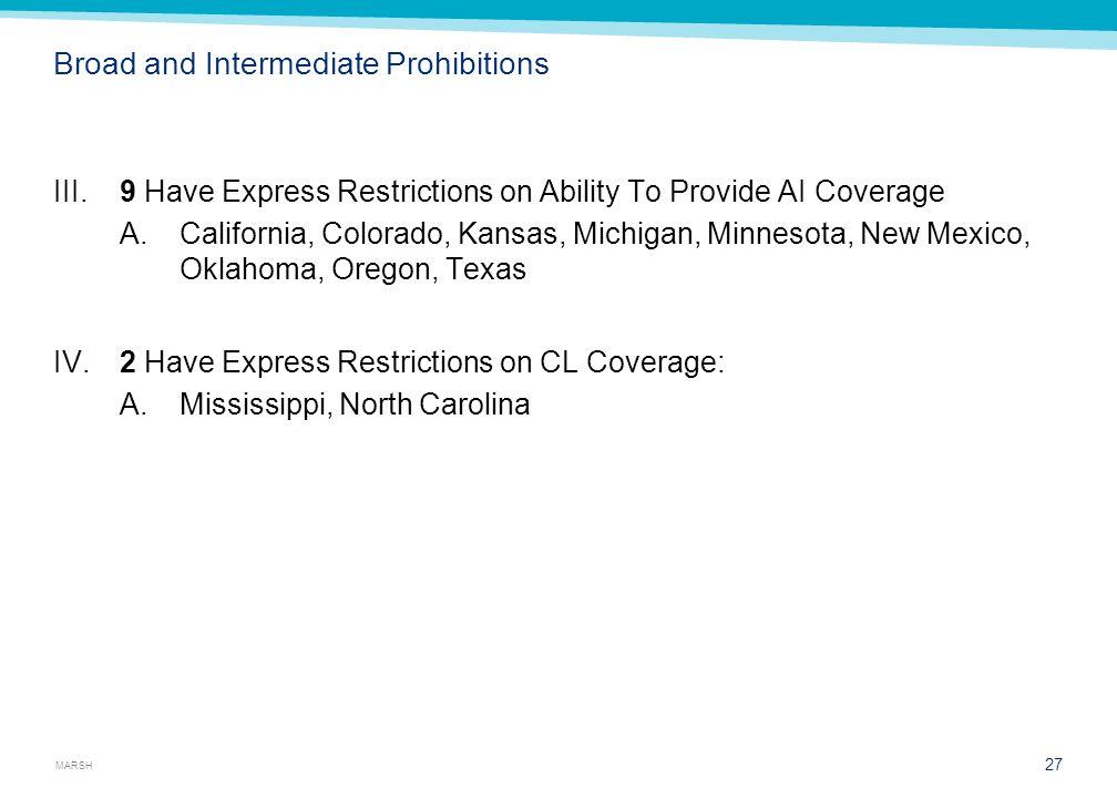 MARSH Broad and Intermediate Prohibitions III.9 Have Express Restrictions on Ability To Provide AI Coverage A.California, Colorado, Kansas, Michigan, Minnesota, New Mexico, Oklahoma, Oregon, Texas IV.2 Have Express Restrictions on CL Coverage: A.Mississippi, North Carolina 27