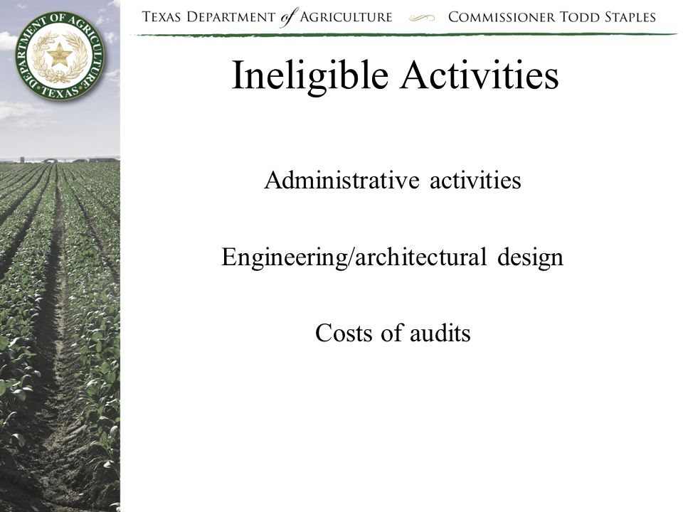 Ineligible Activities Administrative activities Engineering/architectural design Costs of audits