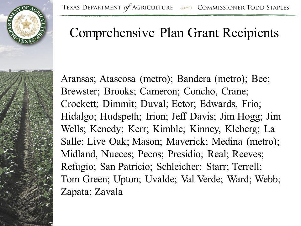 Comprehensive Plan Grant Recipients Aransas; Atascosa (metro); Bandera (metro); Bee; Brewster; Brooks; Cameron; Concho, Crane; Crockett; Dimmit; Duval