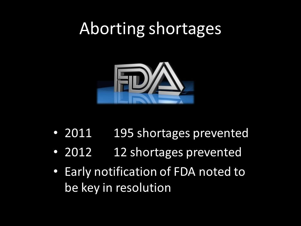 Aborting shortages 2011 195 shortages prevented 201212 shortages prevented Early notification of FDA noted to be key in resolution
