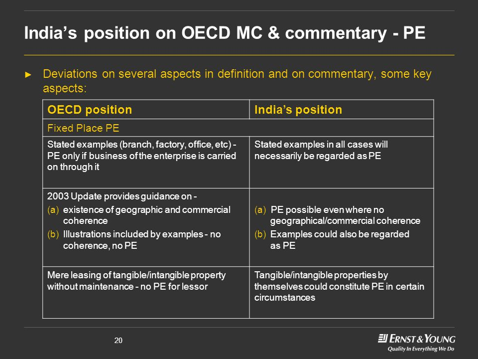 20 India's position on OECD MC & commentary - PE ► Deviations on several aspects in definition and on commentary, some key aspects: OECD positionIndia