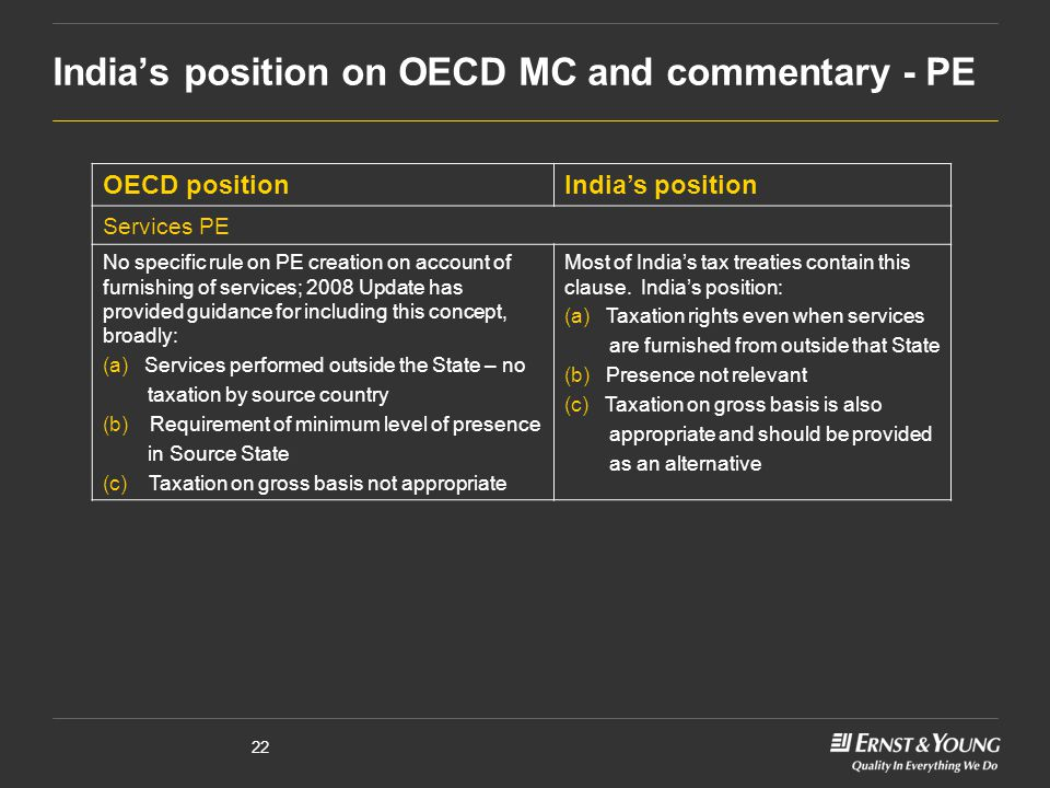 22 India's position on OECD MC and commentary - PE OECD positionIndia's position Services PE No specific rule on PE creation on account of furnishing