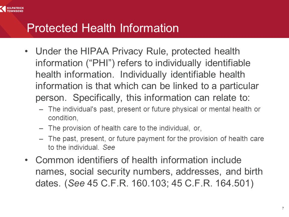 """Under the HIPAA Privacy Rule, protected health information (""""PHI"""") refers to individually identifiable health information. Individually identifiable h"""