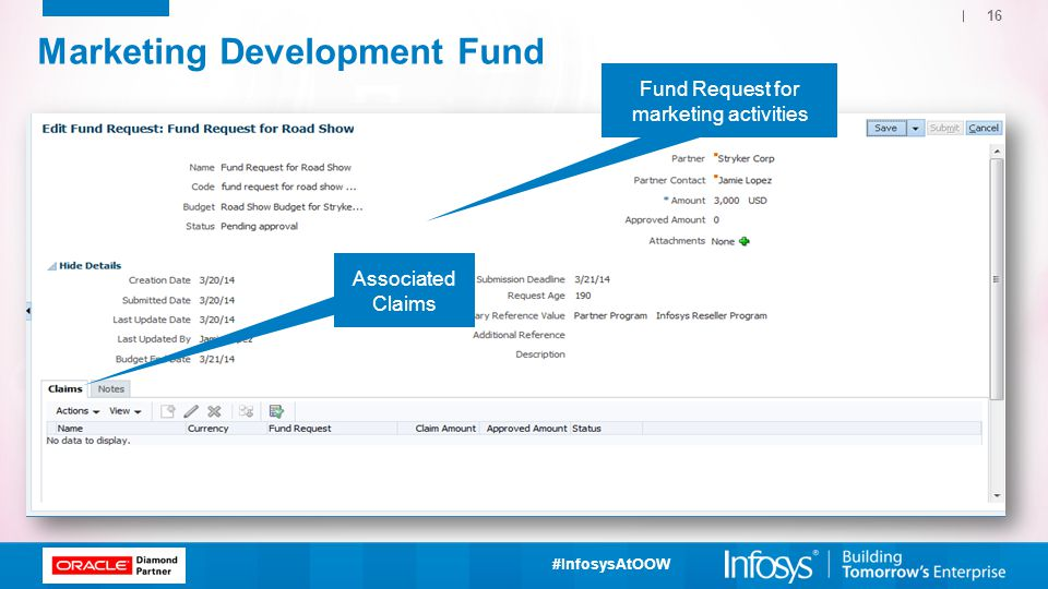 #InfosysAtOOW Marketing Development Fund 16 Fund Request for marketing activities Associated Claims