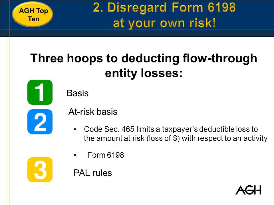 Three hoops to deducting flow-through entity losses: Basis At-risk basis Code Sec.