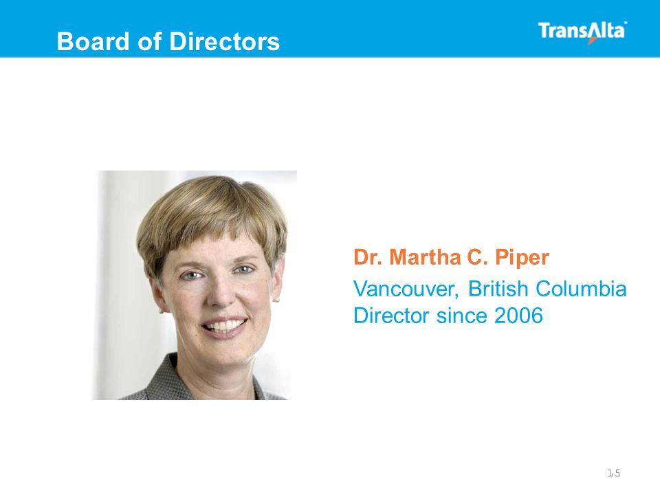 Dr. Martha C. Piper Vancouver, British Columbia Director since 2006 15 Board of Directors