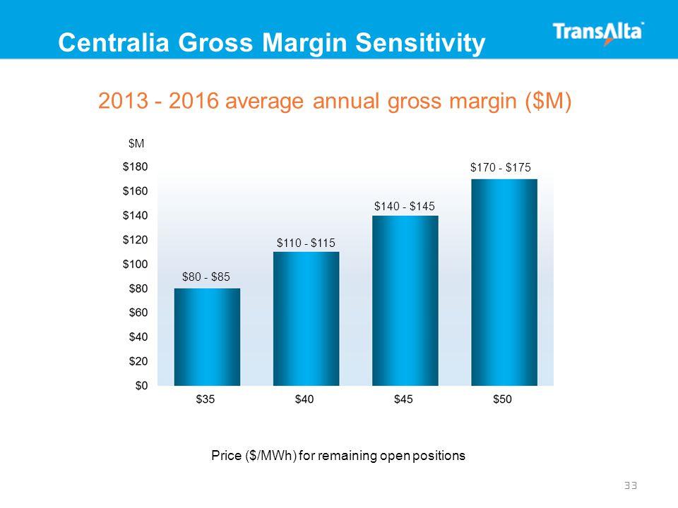33 Centralia Gross Margin Sensitivity 2013 - 2016 average annual gross margin ($M) $80 - $85 $110 - $115 $140 - $145 $170 - $175 Price ($/MWh) for remaining open positions $M