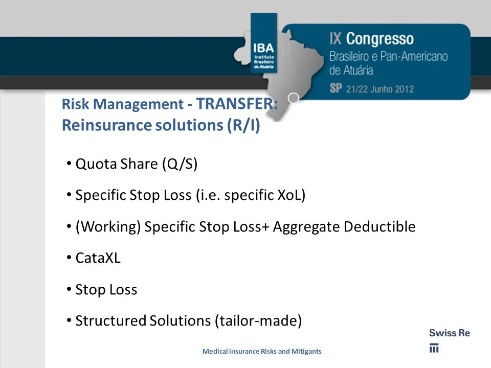 Risk Management - TRANSFER: Reinsurance solutions (R/I) Quota Share (Q/S) Specific Stop Loss (i.e.