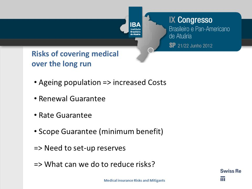 Risks of covering medical over the long run Ageing population => increased Costs Renewal Guarantee Rate Guarantee Scope Guarantee (minimum benefit) => Need to set-up reserves => What can we do to reduce risks.