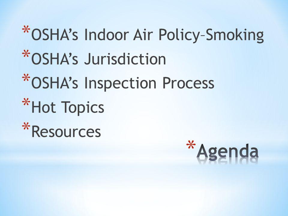 * OSHA's Indoor Air Policy–Smoking * OSHA's Jurisdiction * OSHA's Inspection Process * Hot Topics * Resources