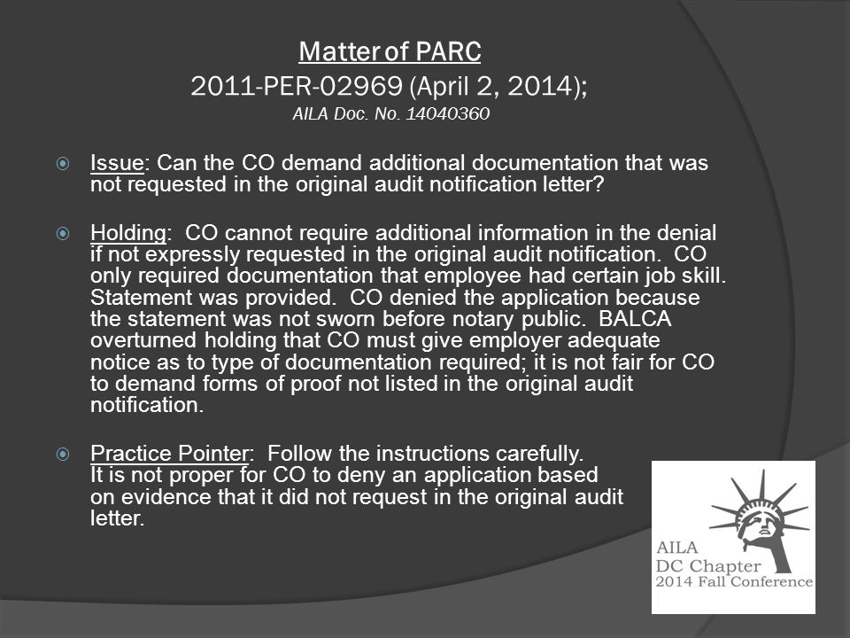 Matter of PARC 2011-PER-02969 (April 2, 2014); AILA Doc.