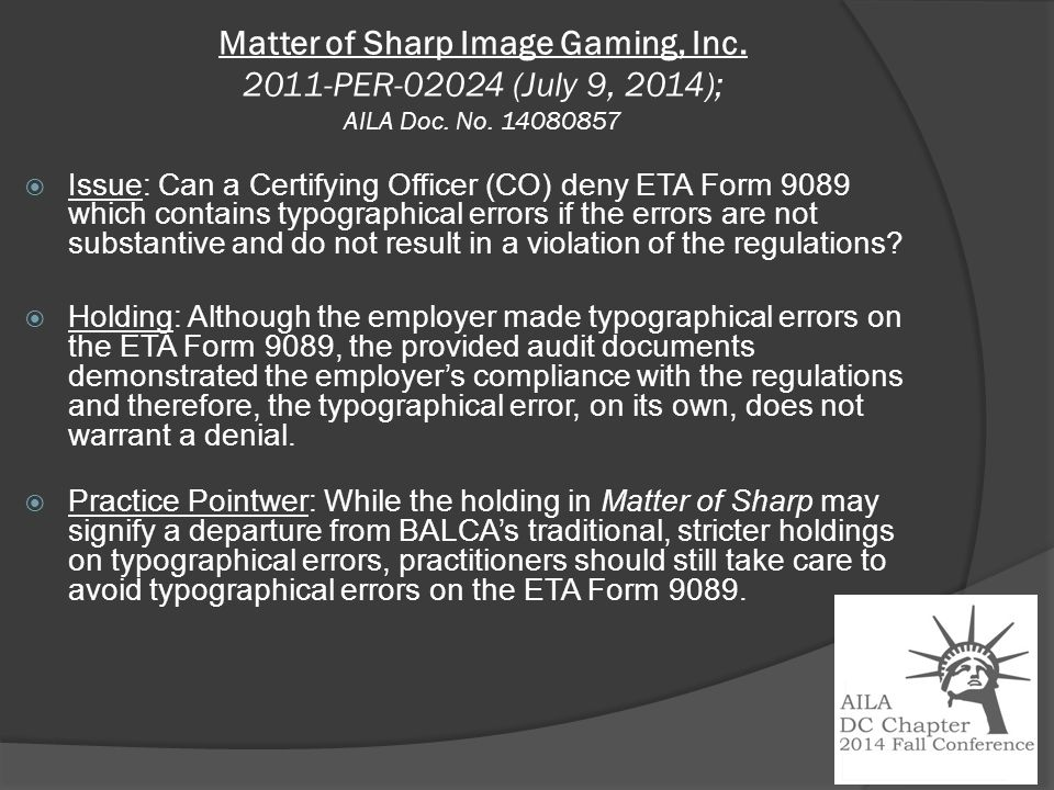 Matter of Sharp Image Gaming, Inc. 2011-PER-02024 (July 9, 2014); AILA Doc.