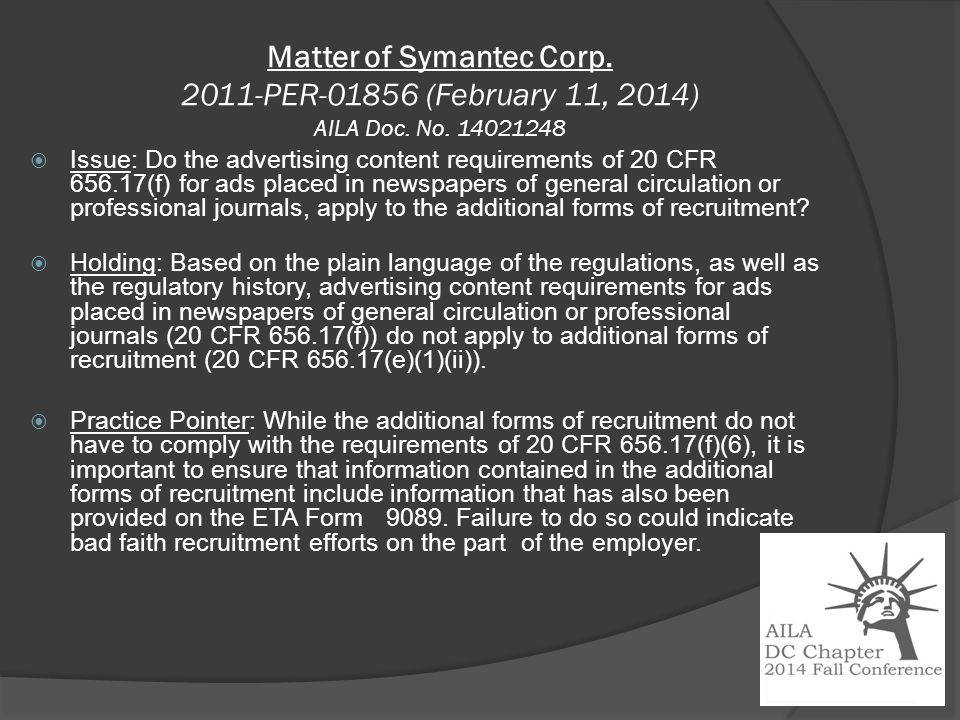 Matter of Symantec Corp. 2011-PER-01856 (February 11, 2014) AILA Doc.